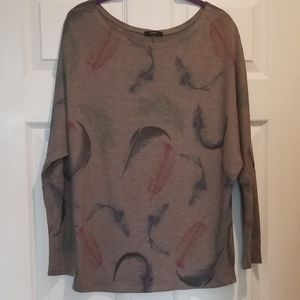 Enti long sleeve feather blouse
